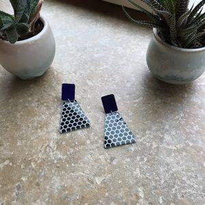 Black and white polka dot post earrings